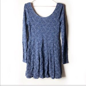 Free People Lace Navy Blue Dress